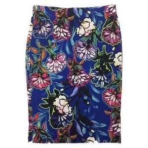 ECI Pencil Skirt Floral Print Royal Blue SZ L